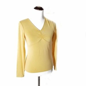 Talbots Collection Yellow Long Sleeve V neck Tee